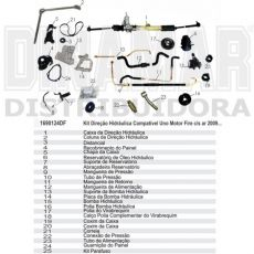 Kit De Direção Hidráulica Do Fiat Uno Fire Fiorino Fire De 2009 Em Diante (Modelos Com Ar Ou Sem Ar Condicionado)