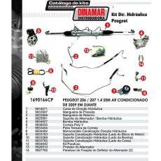Kit De Direção Hidráulica Do Peugeot 206 / 207 1.4  Ano 2009 Em Diante (Modelos Sem Ar Condicionado)
