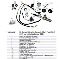 Kit De Direção Hidráulica Do Volkswagen Gol Motor 1.0 At 8/16V De 1996 Em Diante (Modelos Com Ar Condicionado Original)