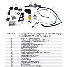 Kit De Direção Hidráulica Do Volkswagen Gol Voyage Parati Ap 1.6/1.8 Modelo Bx  De 1992 Até 1995 (Modelos Sem Ar Condicionado)