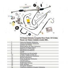 Kit De Direção Hidráulica Novo Fiesta 1.0/1.6 Amazon 2002 Até 2009 Com Ar Visteon Instalado (Motor Zetec Rocam)