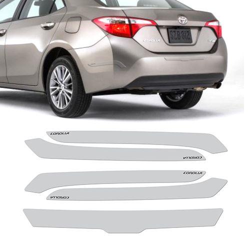 Protetor Parachoque Toyota Corolla Resinado Transparente Com Grafia Preta