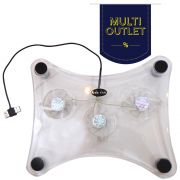 Cooler Via Usb para Notebook com 3 Ventiladores e Led azul
