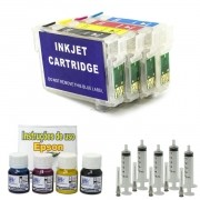 Kit Cartuchos Recarregáveis Modelos TX200  + 120ml de Tintas Pigmentadas VISUTEC