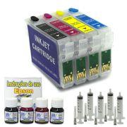 Kit Cartuchos Recarregáveis T40W e TX550 + 120 ml de Tinta Corante