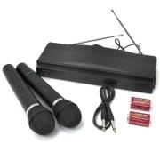 Microfones Sem Fio de Mão Duplo com Receptor FÁCIL TEC