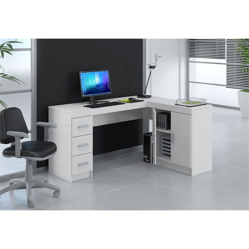 Mesa para Computador de Canto Espanha com Gavetas - Politorno