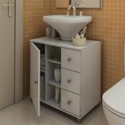 Gabinete para Banheiro com 3 Gavetas Branco - Politorno