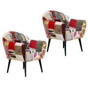 Kit 02 Poltronas Nina com Pés Palito Patchwork Decorativa Cadeira - Domi