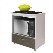 Balcão de Cozinha Cooktop e Forno BL 140 Branco/Carvalho - Completa Móveis