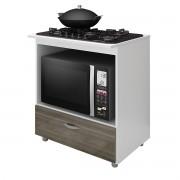 Balcão de Cozinha Cooktop e Forno BL 150 Branco/Carvalho - Completa Móveis