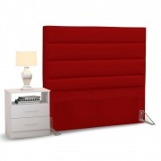 Cabeceira Cama Box Solteiro 90cm Greta Corano Vermelho e 1 Mesa de Cabeceira AD1 Branco - Mpozenato