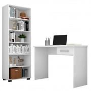 Conjunto Escritório Mesa 1 Gaveta Gávea e Estante Office Branco - Móveis Leão