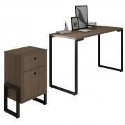 Conjunto Escritório Mesa Escrivaninha 120cm e Gaveteiro 2 Gavetas Estilo Industrial New Port F02 Castanho - Mpozenato