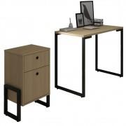 Conjunto Escritório Mesa Escrivaninha 90cm e Gaveteiro 2 Gavetas New Port F02 Nature - Mpozenato