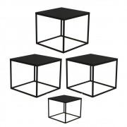 Conjunto Mesas de Centro Cube Preto - Artesano