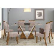 Conjunto Sala de Jantar Mesa Veneto Tampo de Vidro e 6 Cadeiras Nevada - Dj Móveis