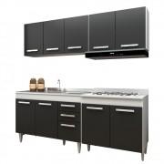 Cozinha Modulada 4 Módulos Composição 5 Branco/Preto - Lumil Móveis