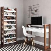 Escrivaninha AZ1007 e Estante Livreiro Multiuso AZ1006 Branco/Nogal - Tecno Mobili