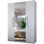 Guarda Roupa Solteiro 166cm 4 Portas 2 Espelhos Single F04 Branco - Mpozenato