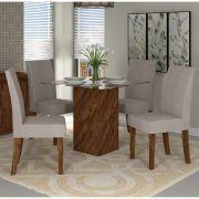 Jogo de Jantar Mesa Formosa Vidro e 4 Cadeiras Olimpia - Dj Móveis