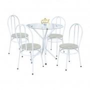 Jogo de Mesa e 04 Cadeiras Lírio Branco/Bege - Marcheli