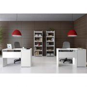 Jogo para Escritório e Home Office 02 Mesas Malta e 02 Estantes Platina com Vistas - Politorno