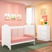Jogo Quarto de Bebê Cômoda e Berço Ternura Branco - PN Baby