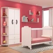 Jogo Quarto de Bebê Guarda Roupa e Berço Ternura Branco/Rosa - PN Baby