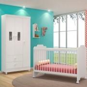 Jogo Quarto de Bebê Guarda Roupa Vitória e Berço Ternura Branco - PN Baby
