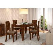 Jogo Sala de Jantar Mesa Charme e 04 Cadeiras Dama - Dj Móveis