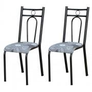 Kit 2 Cadeiras 023 América Cromo Preto/Pará - Artefamol