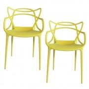 Kit 2 Cadeiras Decorativas Para Sala de Jantar Amsterdam F01 Amarela - Mpozenato