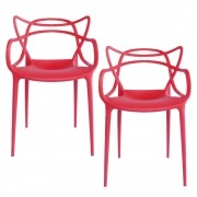 Kit 2 Cadeiras Decorativas Para Sala de Jantar Amsterdam F01 Vermelha - Mpozenato