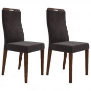 Kit 2 Cadeiras para Sala de Jantar Luciana D08 Suede Marrom - Mpozenato