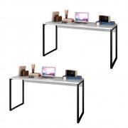 Kit 2 Escrivaninhas Mesas de Escritório Studio Industrial 150 M18 Branco - Mpozenato