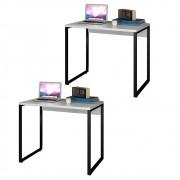 Kit 2 Escrivaninhas Mesas de Escritório Studio Industrial 90 M18 Branco - Mpozenato