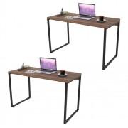 Kit 2 Mesas de Escritório Office 120cm Estilo Industrial Prisma C08 Nogal - Mpozenato