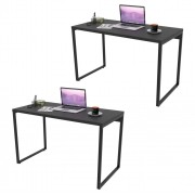 Kit 2 Mesas de Escritório Office 120cm Estilo Industrial Prisma C08 Preto Onix - Mpozenato