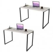 Kit 2 Mesas de Escritório Office 120cm Estilo Industrial Prisma C08 Snow - Mpozenato