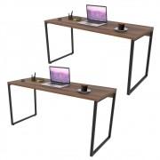 Kit 2 Mesas de Escritório Office 150cm Estilo Industrial Prisma C08 Nogal - Mpozenato