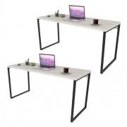 Kit 2 Mesas de Escritório Office 150cm Estilo Industrial Prisma C08 Snow - Mpozenato