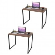 Kit 2 Mesas de Escritório Office 90cm Estilo Industrial Prisma C08 Nogal - Mpozenato