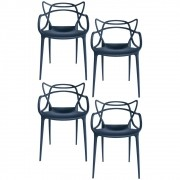 Kit 4 Cadeiras Decorativas Para Sala de Jantar Amsterdam F01 Preta - Mpozenato