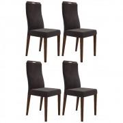 Kit 4 Cadeiras para Sala de Jantar Luciana D08 Suede Marrom - Mpozenato