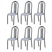Kit 6 Cadeiras 058 América Cromo Preto/Grafiato - Artefamol