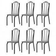 Kit 6 Cadeiras 121 Europa Preto/Platina - Artefamol