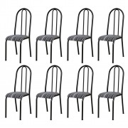Kit 8 Cadeiras 056 América Cromo/Preto Listrado - Artefamol