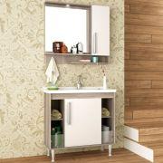 Kit Banheiro Gabinete 80cm Lavatório e Armário com Espelho Brisa - Bosi