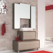 Kit Banheiro Gabinete Cuba e Armário com Espelho 100cm Vegas - Bosi